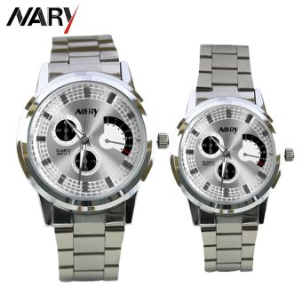 NARY 6017 Couple's Fashion Stainless Steel Strap Wristwatch (Silver/White)