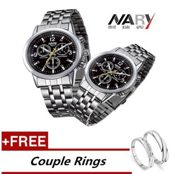 NARY 6033 Dial Classic Couple Lover Women Men Quartz Full Stainless Steel Wrist Watch Black ( with Free Adjustable Lovers Rings ) - intl