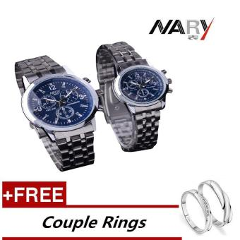 NARY 6033 Dial Classic Couple Lover Women Men Quartz Full StainlessSteel Wrist Watch Blue ( with Free Adjustable Lovers Rings ) - intl