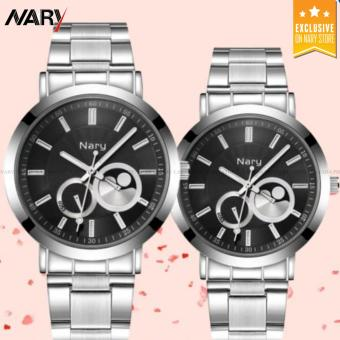NARY 6053 Luxury Lovers' Couple Stainless Steel Quartz Wristwatch
