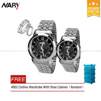 NARY 6063 Couple Black/Silver Stainless Steel Strap Watch With PY-1Couple Rings With Free 4002 Clothes Wardrobe With ShoeCabinet(Random)
