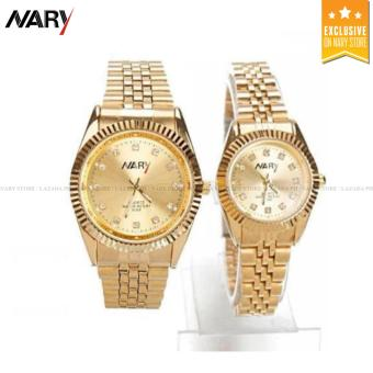 NARY 6068 Lovers'classical Steel-belt Quartz Couple Watch(Gold)