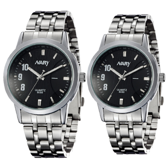 NARY 6069 Couple's Stainless Steel Strap Wristwatch-Black