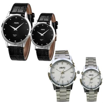 NARY 6077 Couple Stainless Steel Strap Watch (White) With 6101 Couple Leather Strap Watch (Black)