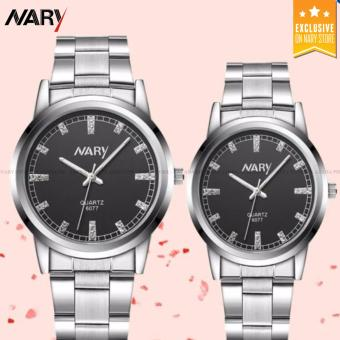 NARY 6077 Couple's Silver Stainless Steel Strap Watch