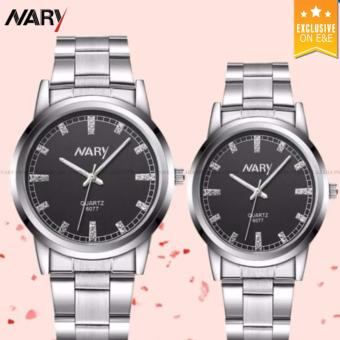 NARY 6077 Couple's Silver Stainless Steel Strap Watch Black