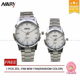 NARY 6077 Couple's Stainless Steel Strap Watch (White)with Free ZDL-F68 MINI FAN 1PCS (Random color)