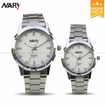 NARY 6077 Couple's Stainless Steel Strap Watch(Silver/White)