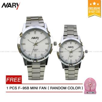 NARY 6077 Couple's Stainless Steel Strap Watch(White)with Free F-95B MINI FAN 1PCS (Random color)