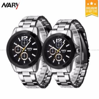 NARY 6093 Lover's Casual steel Strap Quartz Couple Watch(Silver+Black)