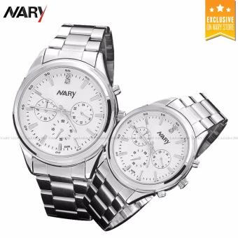 NARY 6098 Couple White/Silver Stainless Steel Strap Watch