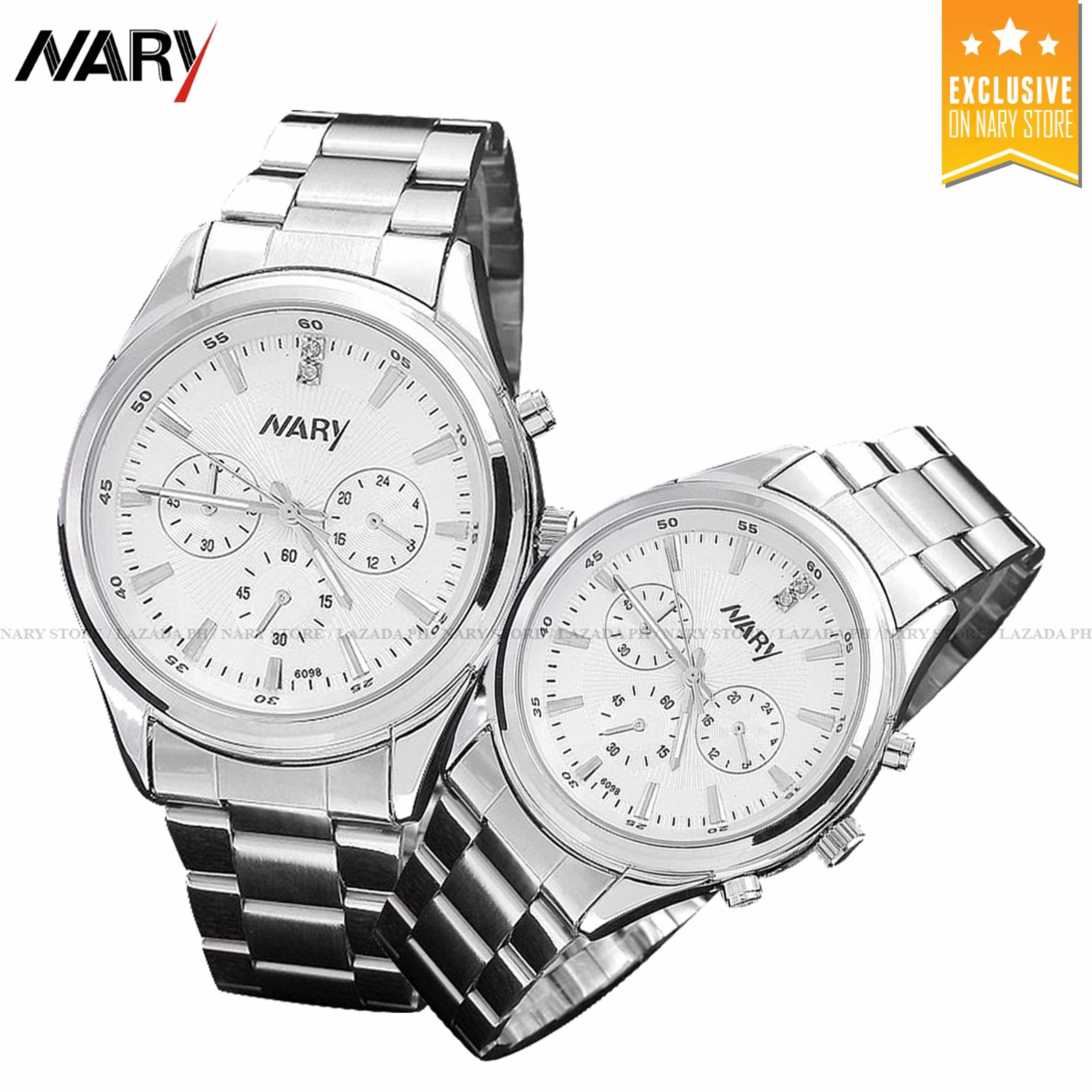 ... NARY 6098 Couple White/Silver Stainless Steel Strap Watch + 8814 Adjustable Fashion Lovers Rings ...