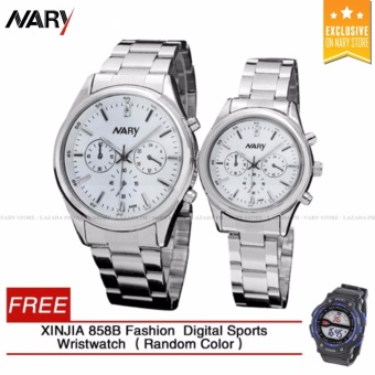 NARY 6098 Couple White/Silver Stainless Steel Strap Watch With Free XINJIA 858B Fashion Digital Sports Wristwatch (Random Color)