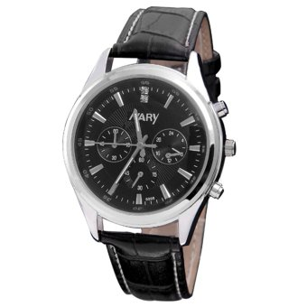 NARY 6098 Leather Strap Watch for Men (Black)