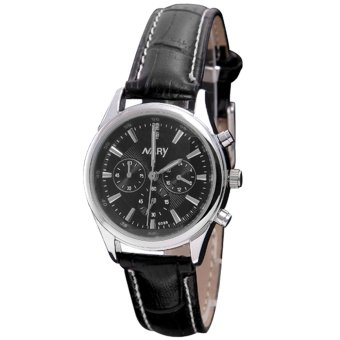 NARY 6098 Leather Strap Watch-Women (Black)