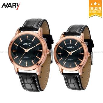 NARY 6103 Couple's Casual Leather Lovers Quartz Watch (Black+Rose Gold)