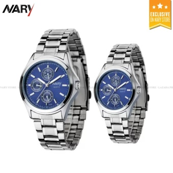 NARY 6104 Couple's Digital Stainless Steel Quartz Watch