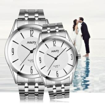 NARY 6125 Lovers' Fashion Stainless Steel Strap Quartz Couple WatchC-NR-6125-
