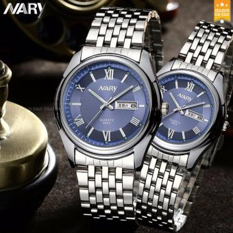 NARY 8003 Couple's Fashion Steel Strap Wristwatch (Blue)
