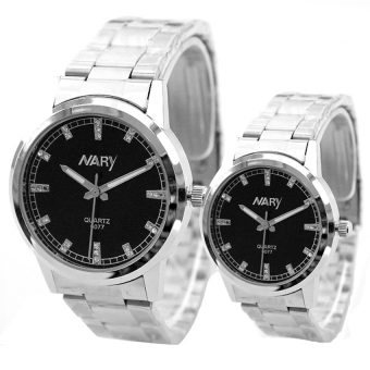 NARY Couple Black Stainless Steel Strap Watch 6077
