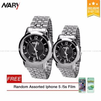 NARY Couple Black/Silver Stainless Steel Strap Watch 6063 with Free Random Assorted IPhone 5/5s Film