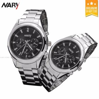 NARY Couple Black/Silver Stainless Steel Strap Watch 6098