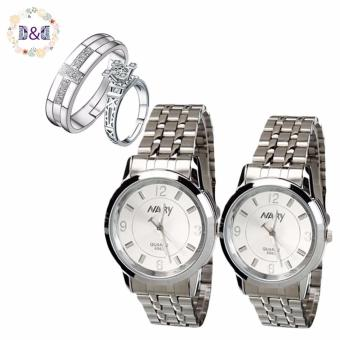NARY Couple Lovers White/Silver Stainless Steel Strap Watch 6063 With PY-1 Opened Couple Rings