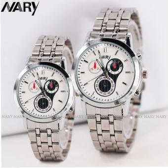 NARY Couple's Digital Stainless Steel Quartz Watch C-NR-6041-White Steel