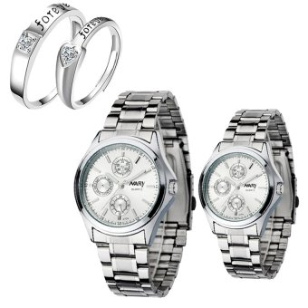 NARY Couple's Digital White Stainless Steel Quartz Watch With LX-JZ8814 Adjustment Fashion Couple Rings