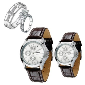 NARY Couple's White Digital Leather Strap Quartz Watch With PY-1 Opened Couple Rings