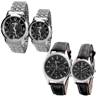 NARY Lovers 6063 Stainless Steel Strap Watch and 6098 Leather Strap Watch (Black/Silver)