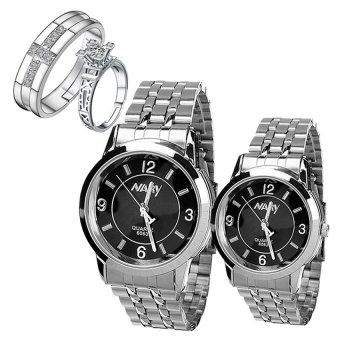 NARY Lovers Couple Black/Silver Stainless Steel Strap Watch 6063 With PY-1 Opened Couple Rings