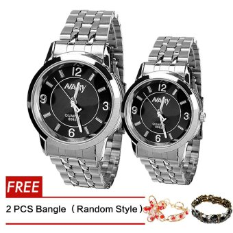 NARY Lovers Couple Black/Silver Stainless Steel Strap Watch 6063With Free 2 PCS Fashion Bangle (Random style )