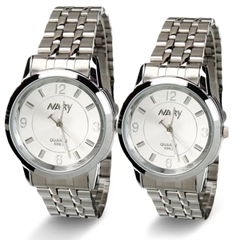 NARY Lovers Silver/White Stainless Steel Strap Watch 6063