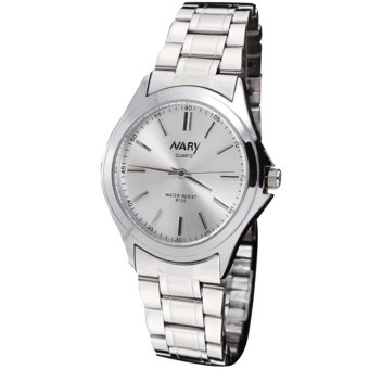 Nary Women's Silver/White Stainless Steel Strap Quartz Wrist Watch C-NR-6100-Silver+White-Women