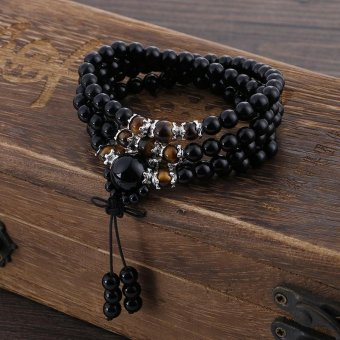 Natural Black Stone Tibetan Buddhist 108 Prayer Beads BraceletsGourd mala Prayer Bracelet for Meditation - intl