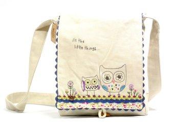 Natural Life Prairie Stitch Messenger Bag (Owl)