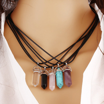 Natural Quartz Crystal Stone Point Chakra Healing Gemstone PendantNecklace Gift