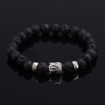 Natural Stone Bead Buddha Bracelets for Women and Men,Silver Buddha, Turquoise,Black Lava Bracelet - intl
