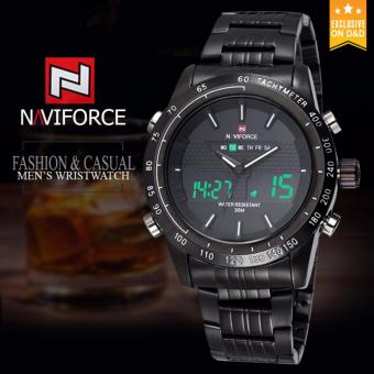 Naviforce 9024 Black Stainless Steel Body Men Dual Movt Watch with Date Day Function