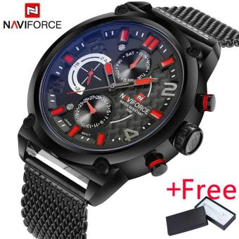 Naviforce Luxury Brand Men Stainless Steel Analog Watches Men'sQuartz 24 Hours Date Clock Man Fashion Casual Sports Wirst Watch -intl