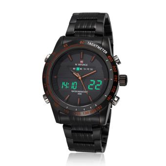 Naviforce Stainless Steel Strap Men's Watch NF9024 (Black/Black/Orange)