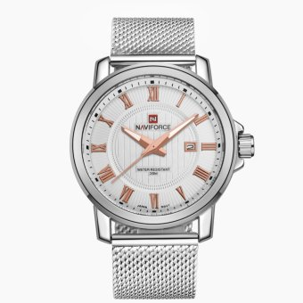 Naviforce Stainless Steel Strap Men's Watch NF9052 (Silver/White/Rose Gold)