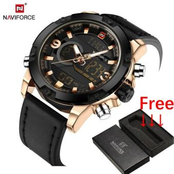 NAVIFORCE TOP Luxury Brand Men's Quartz Digital Watches Men FashionSports Clock Man Leather Military Watch Relogio Masculino - intl