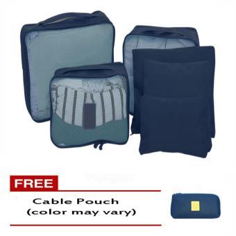 6Pcs Clothes Storage Bags Packing Cube Travel LuggageOrganizer Pouch (Dark Blue) Free Cable Pouch(Color may vary)