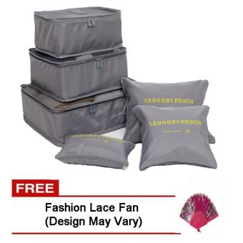 6Pcs Clothes Storage Bags Packing Cube Travel LuggageOrganizer Pouch (Grey) Free Fashion Lace Fan (Design may vary)
