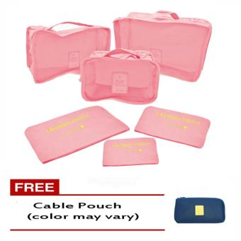 6Pcs Clothes Storage Bags Packing Cube Travel LuggageOrganizer Pouch (Lt.pink) Free Cable Pouch(Color may vary)