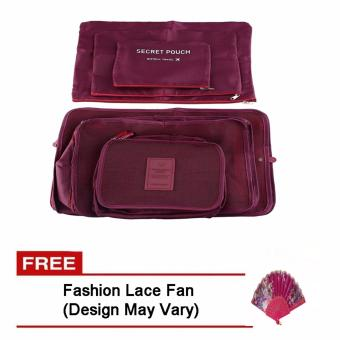 6Pcs Clothes Storage Bags Packing Cube Travel LuggageOrganizer Pouch (Maroon) Free Fashion Lace Fan (Design may vary)