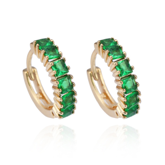 New 18K Gold Plated Green Square Crystal Hoop Women Fashion Earrings