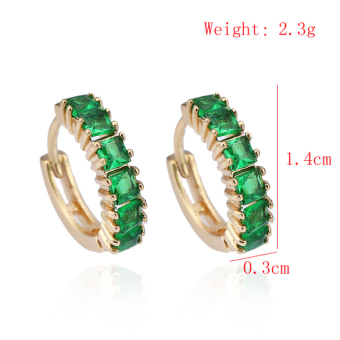 New 18K Gold Plated Green Square Crystal Hoop Women Fashion Earrings - picture 2